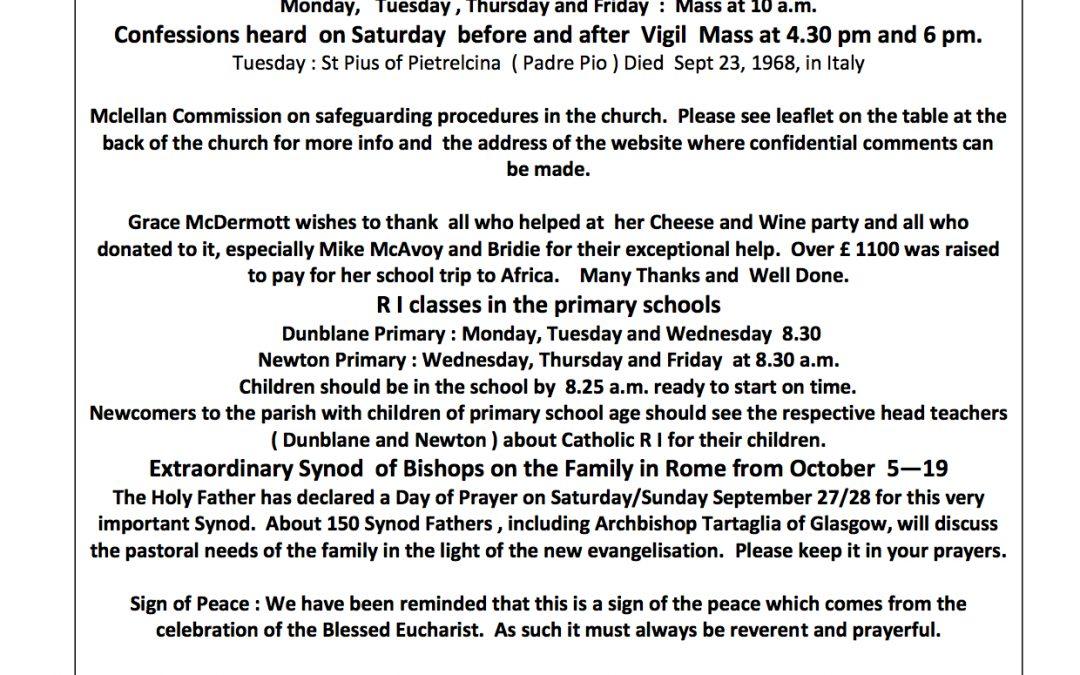 Parish Newsletter – 21/09/14