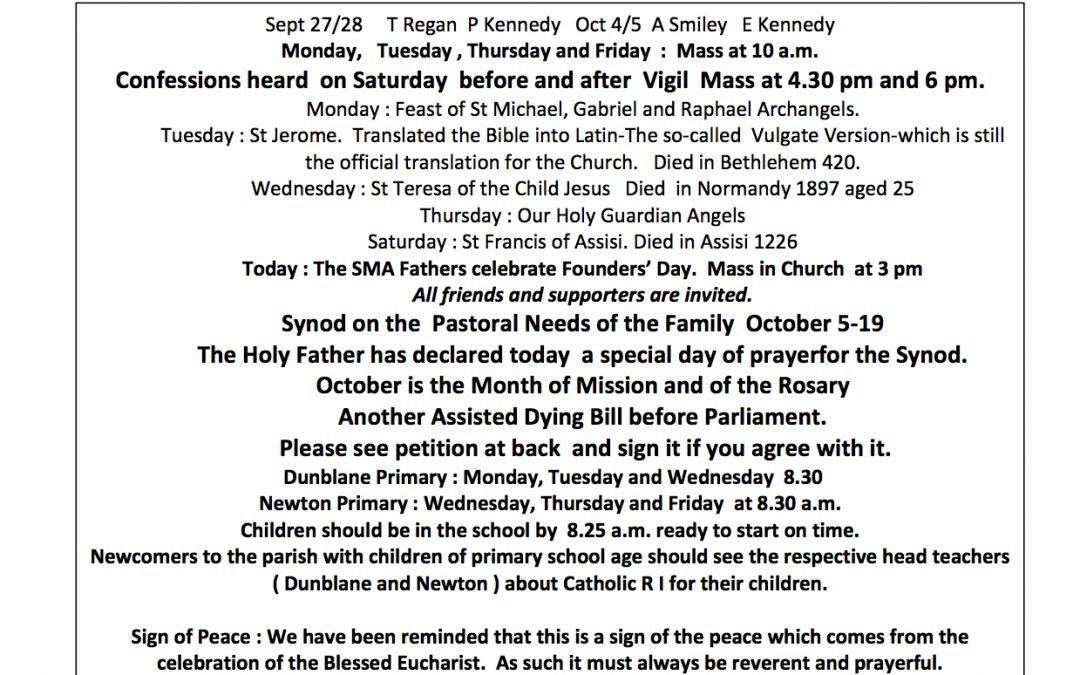 Parish Newsletter – 28/09/14