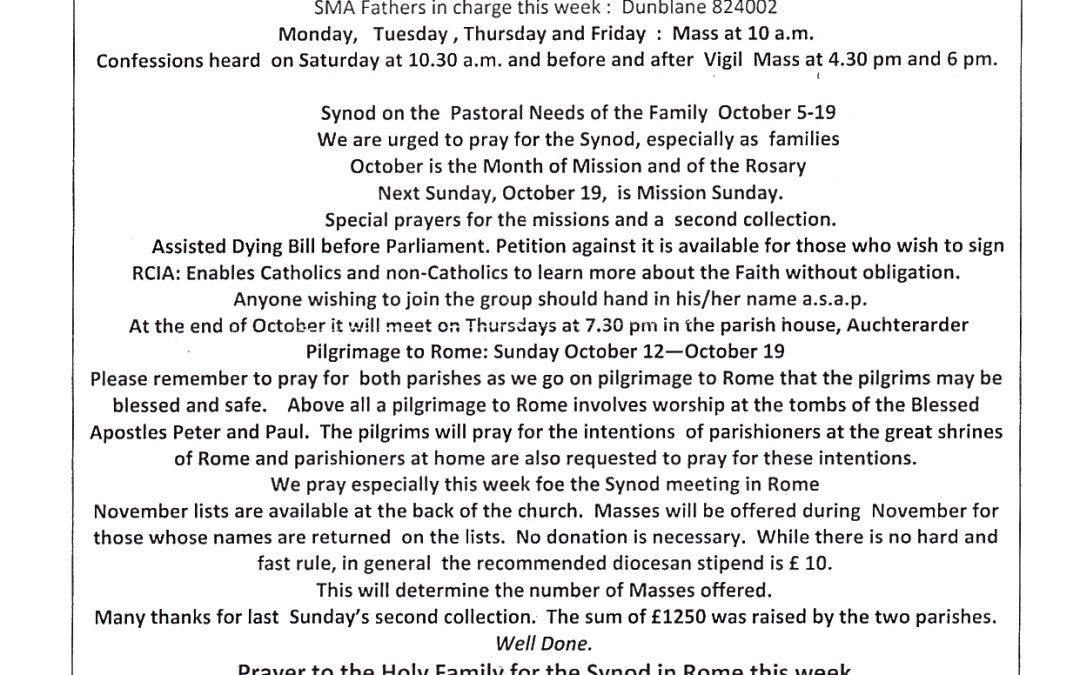 Parish Newsletter – 12/10/14