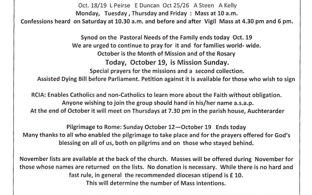 Parish Newsletter – 19/10/14