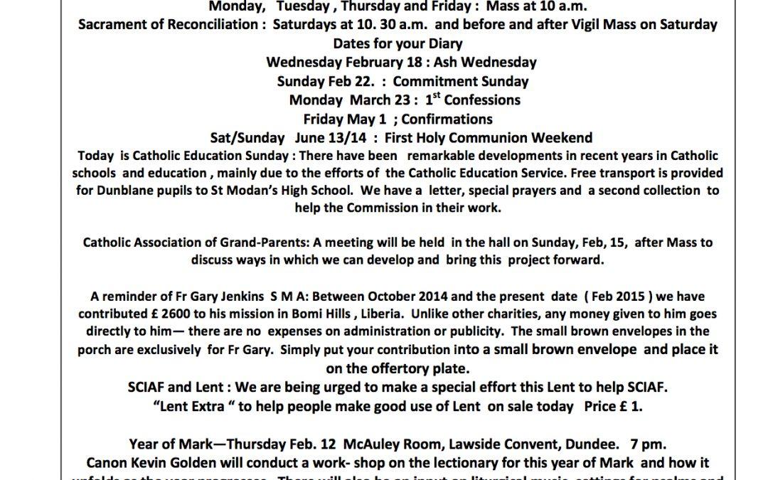 Parish Newsletter – 08/02/15