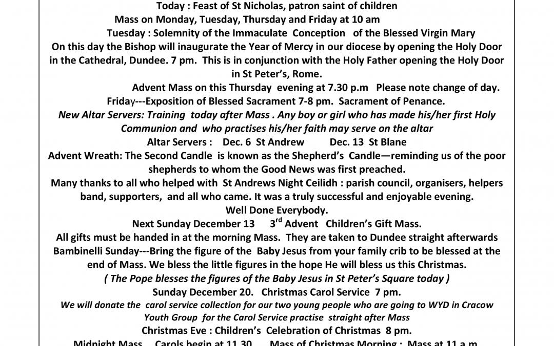 Parish Newsletter – 06/12/15