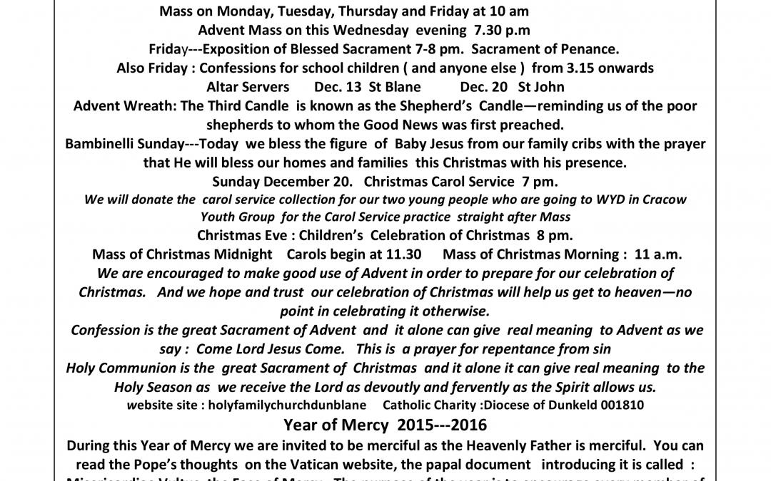 Parish Newsletter – 13/12/15