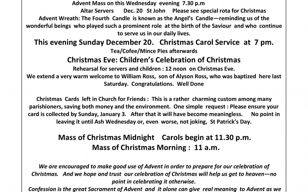 Parish Newsletter – 20/12/15