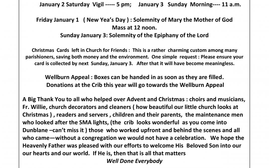 Parish Newsletter – 27/12/15