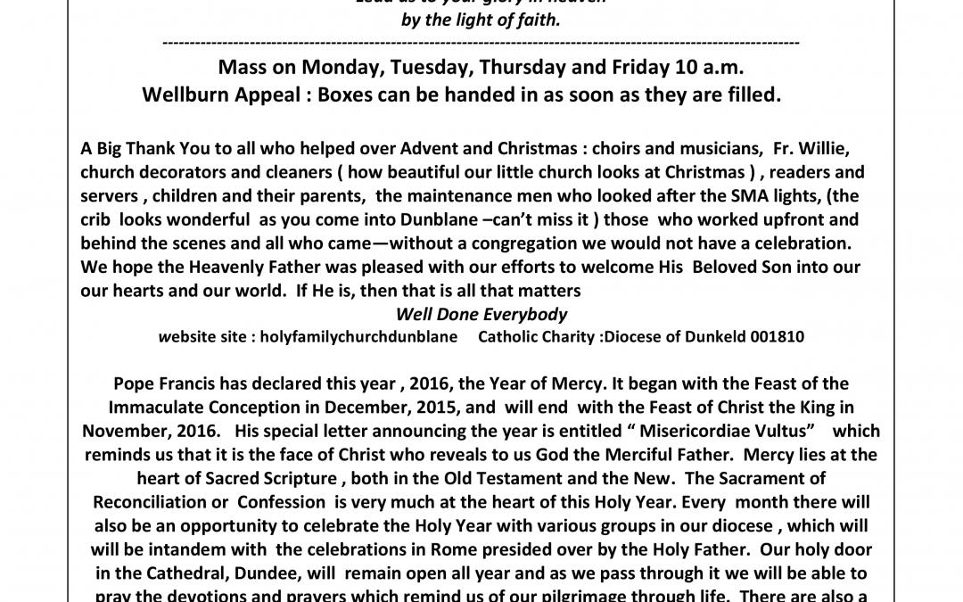 Parish Newsletter – 03/01/16