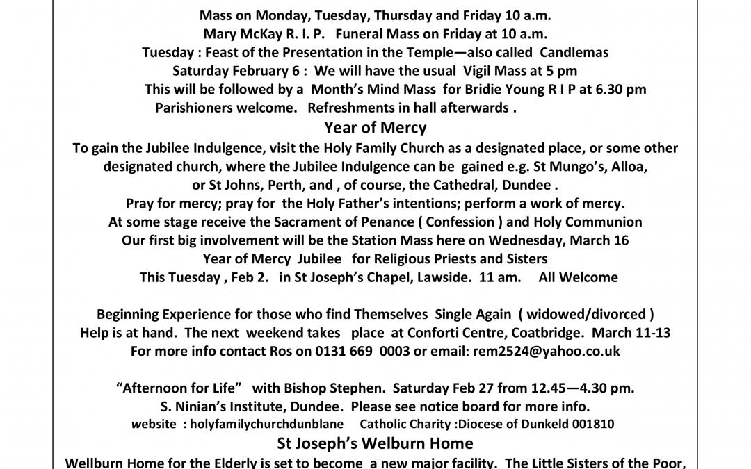 Parish Newsletter – 31/01/16