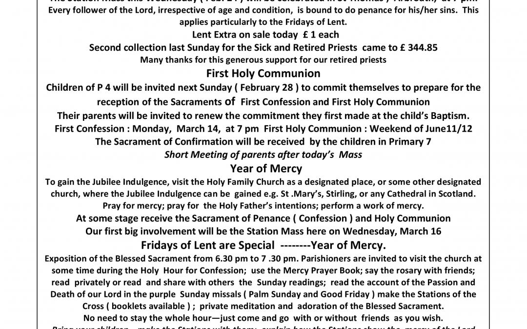 Parish Newsletter – 21/02/16