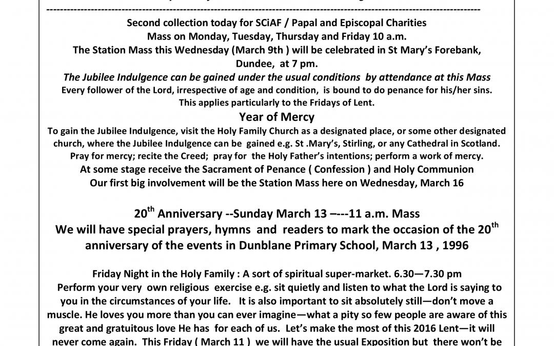 Parish Newsletter – 06/03/16