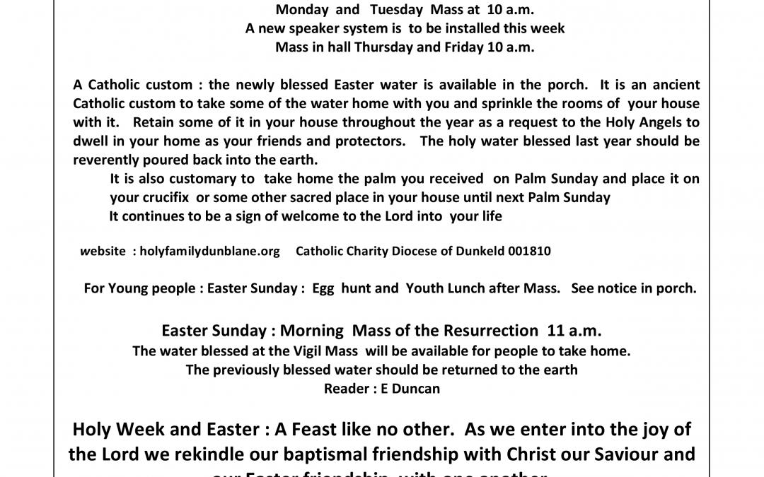 Parish Newsletter – 27/03/16