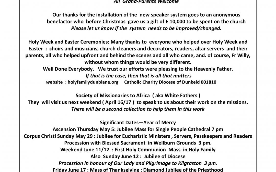 Parish Newsletter – 10/04/16