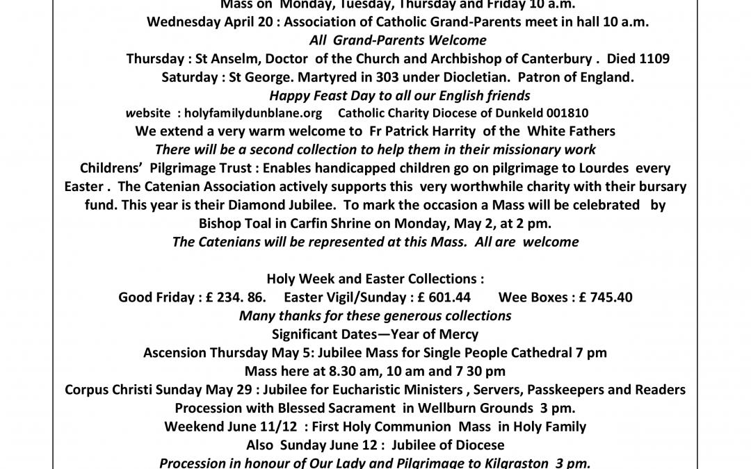 Parish Newsletter – 17/04/16