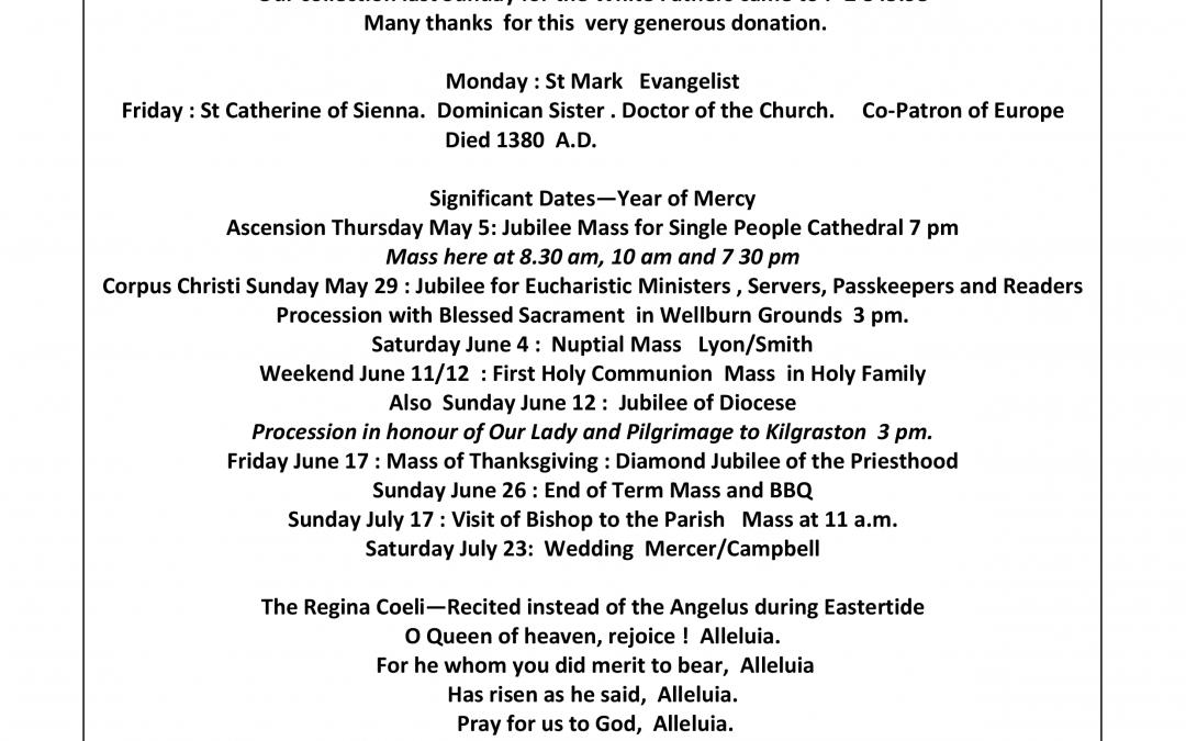 Parish Newsletter – 24/04/16