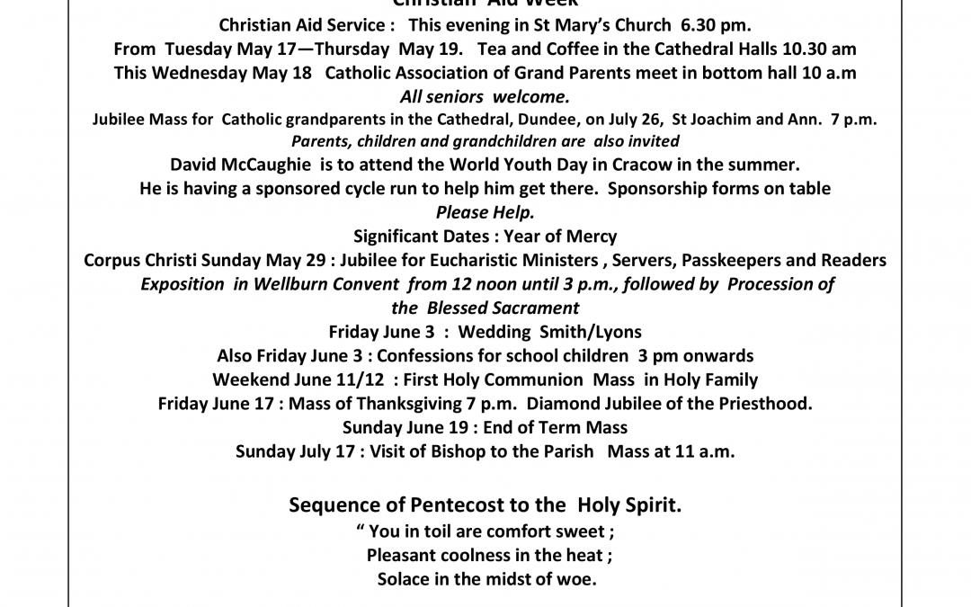 Parish Newsletter – 15/05/16
