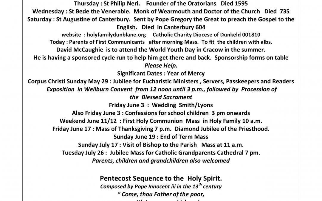 Parish Newsletter – 22/05/16