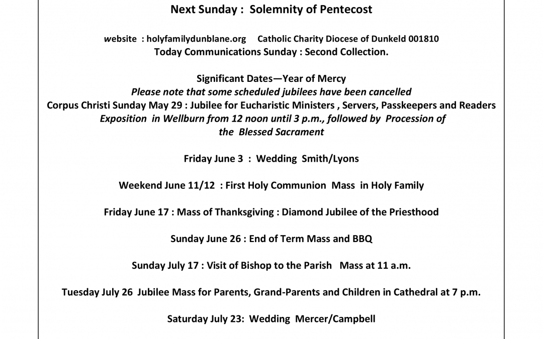 Parish Newsletter – 08/05/16
