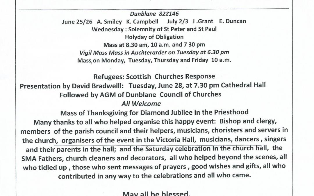 Parish Newsletter – 26/06/16