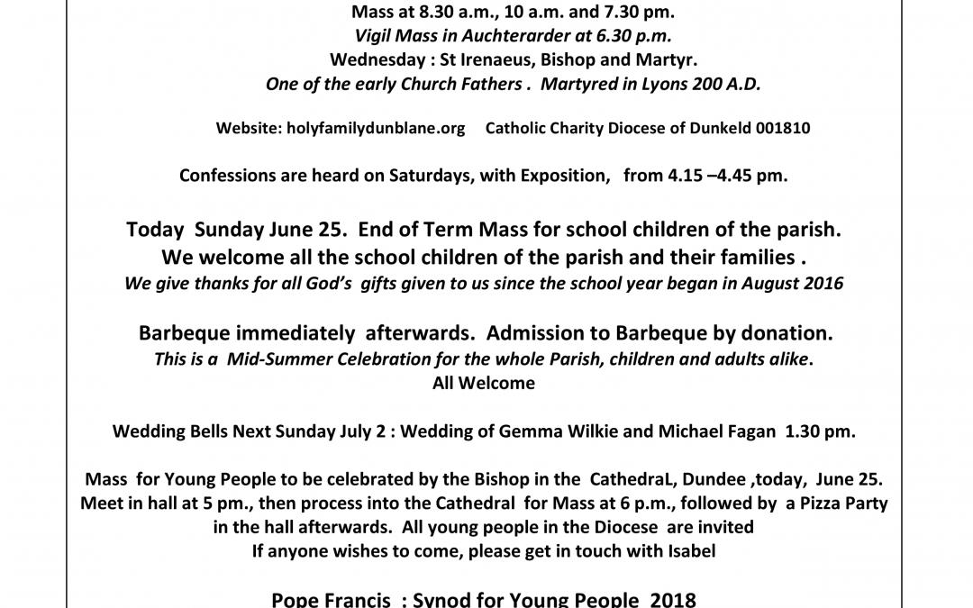 Parish Newsletter – 25/06/17