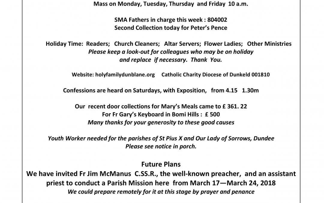 Parish Newsletter – 09/07/17