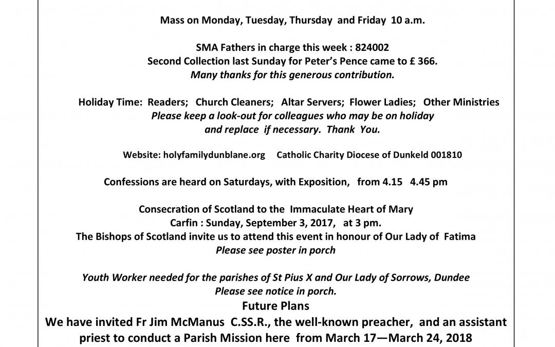 Parish Newsletter – 16/07/17