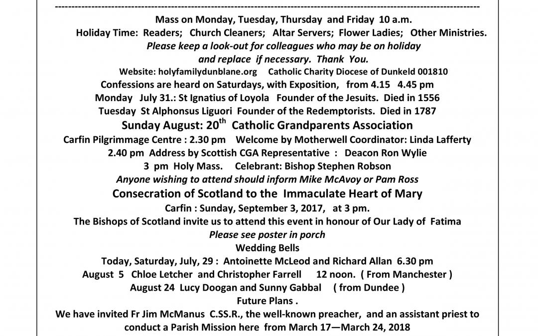 Parish Newsletter – 30/07/17