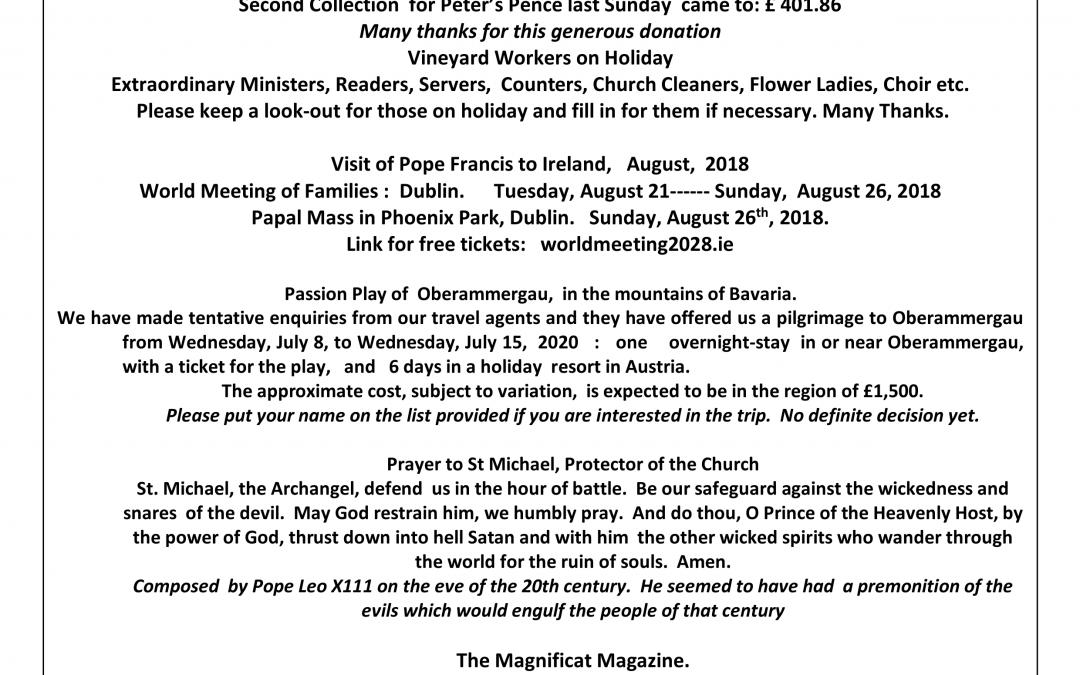 Parish Newsletter – 15/07/18