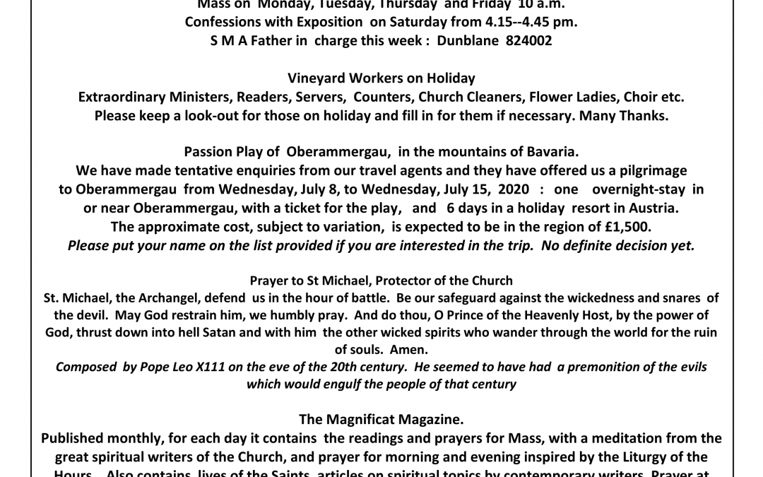 Parish Newsletter – 29/07/18