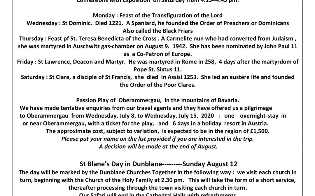 Parish Newsletter – 05/08/18