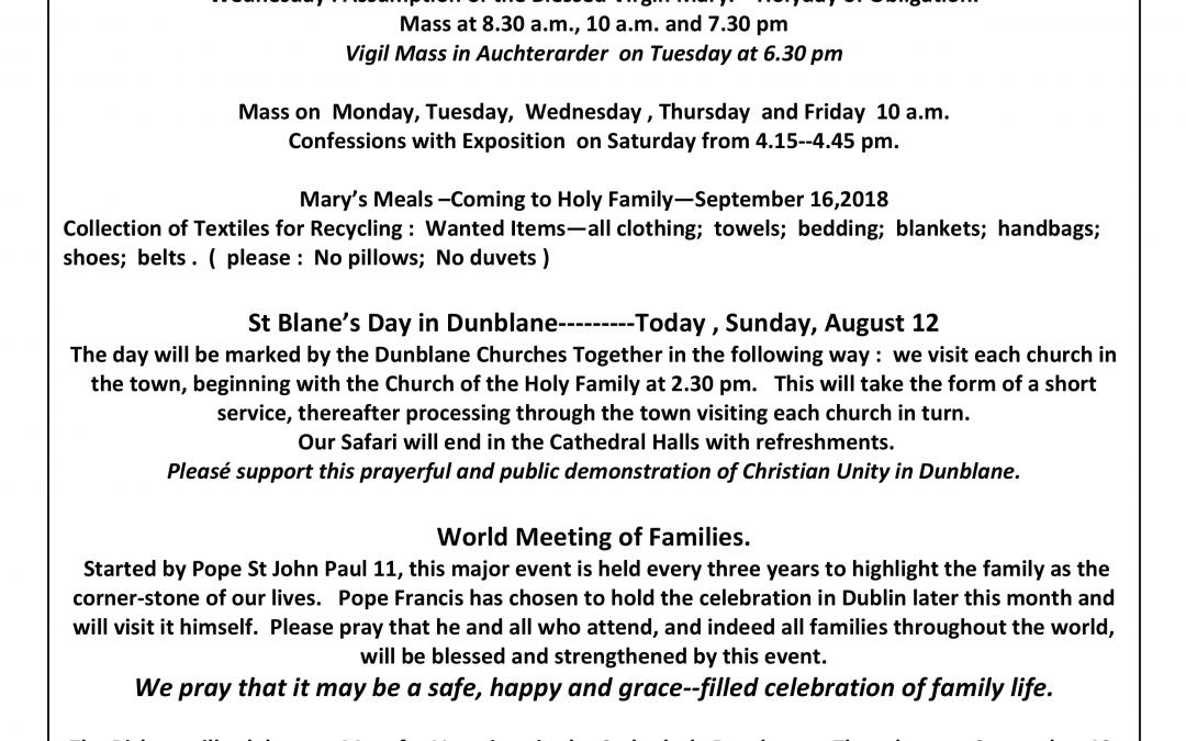 Parish Newsletter – 12/08/18