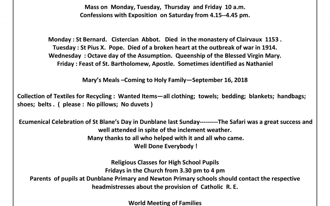 Parish Newsletter – 19/08/18