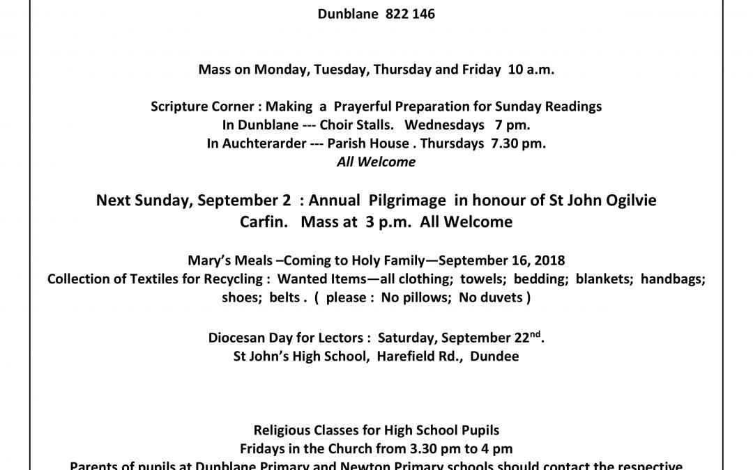 Parish Newsletter – 26/08/18