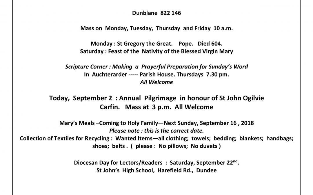 Parish Newsletter – 02/09/18