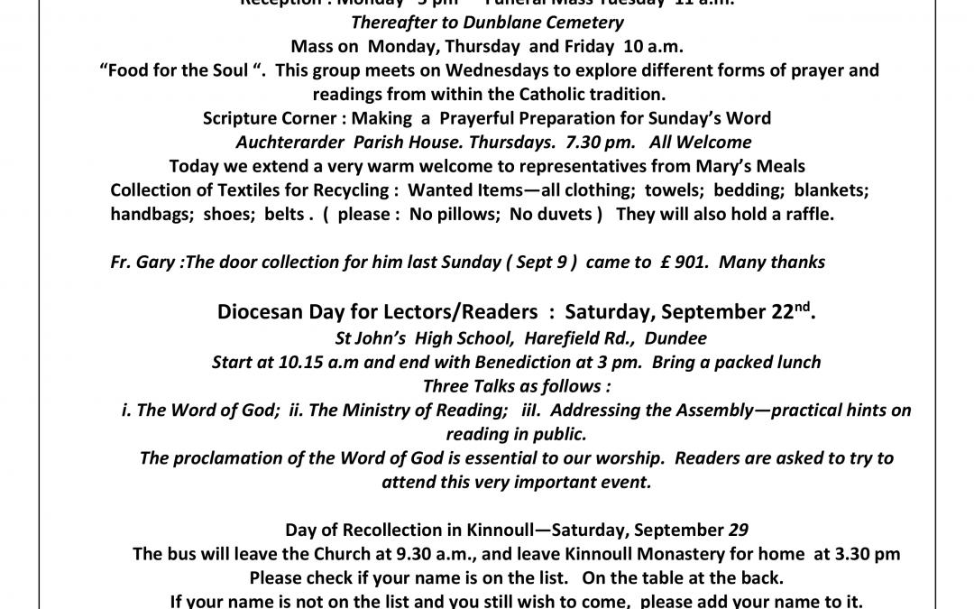 Parish Newsletter – 16/09/18