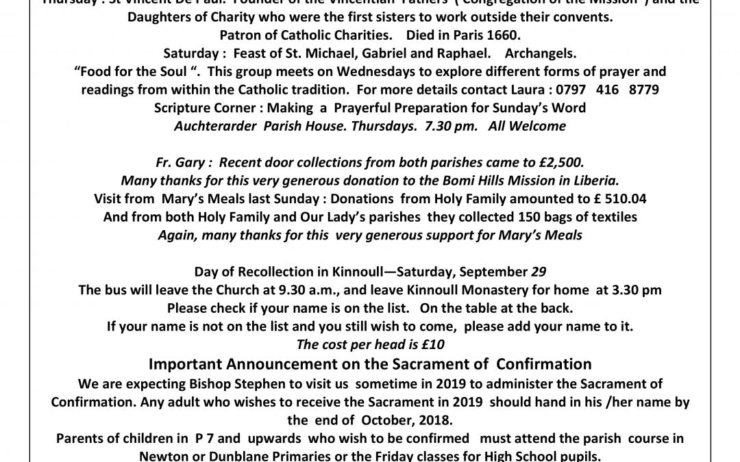Parish Newsletter – 23/09/18