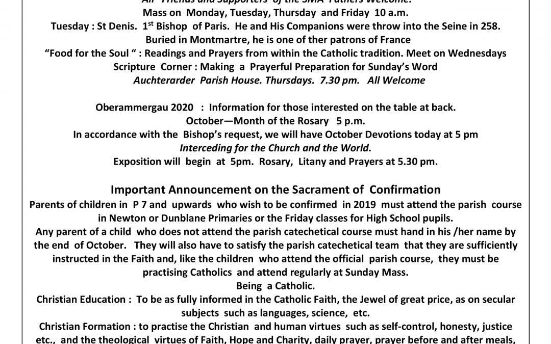 Parish Newsletter – 07/10/18
