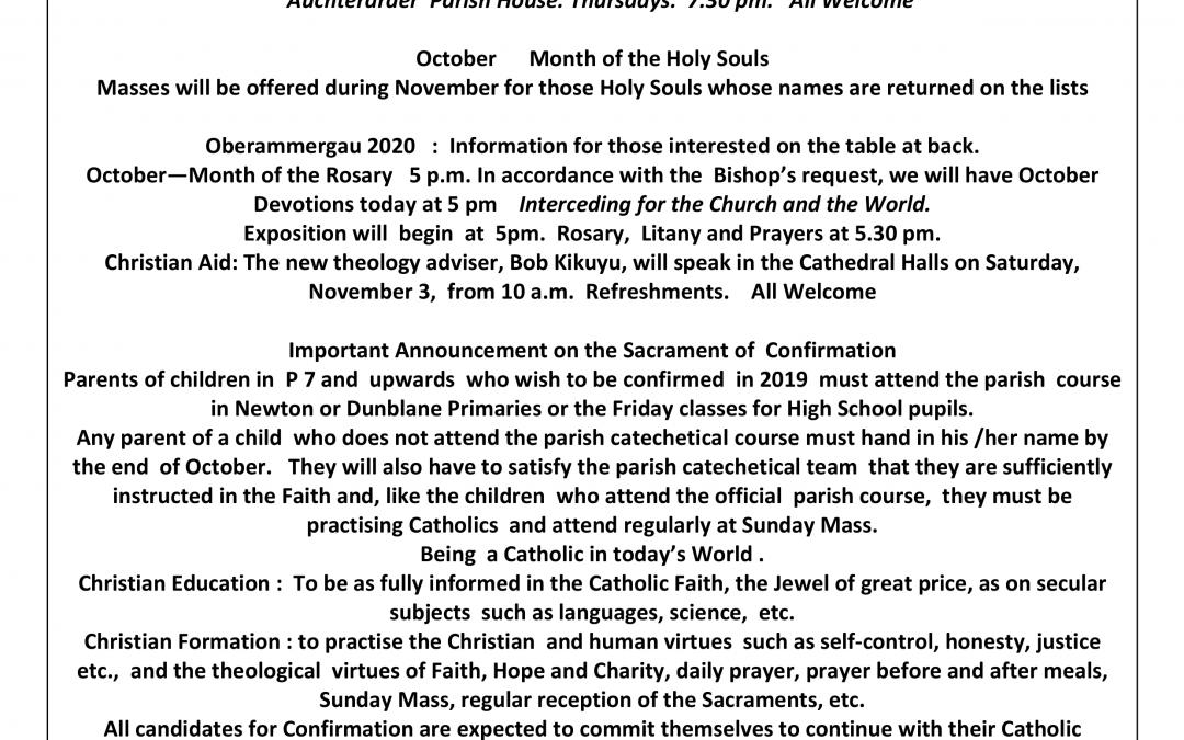 Parish Newsletter – 14/10/18