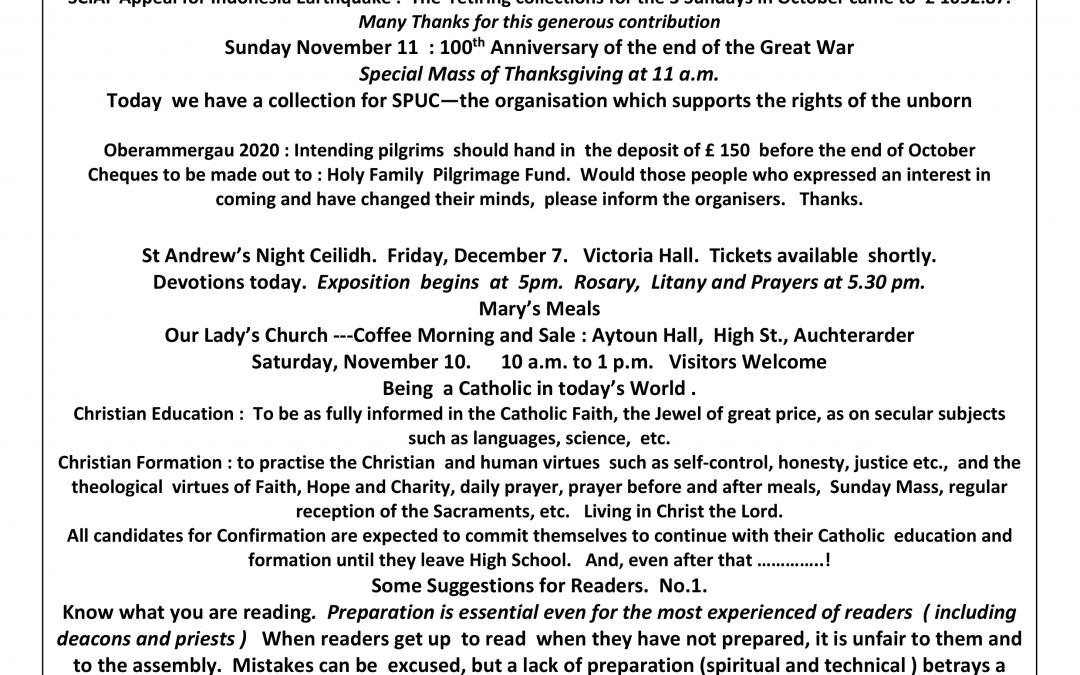 Parish Newsletter – 04/11/18