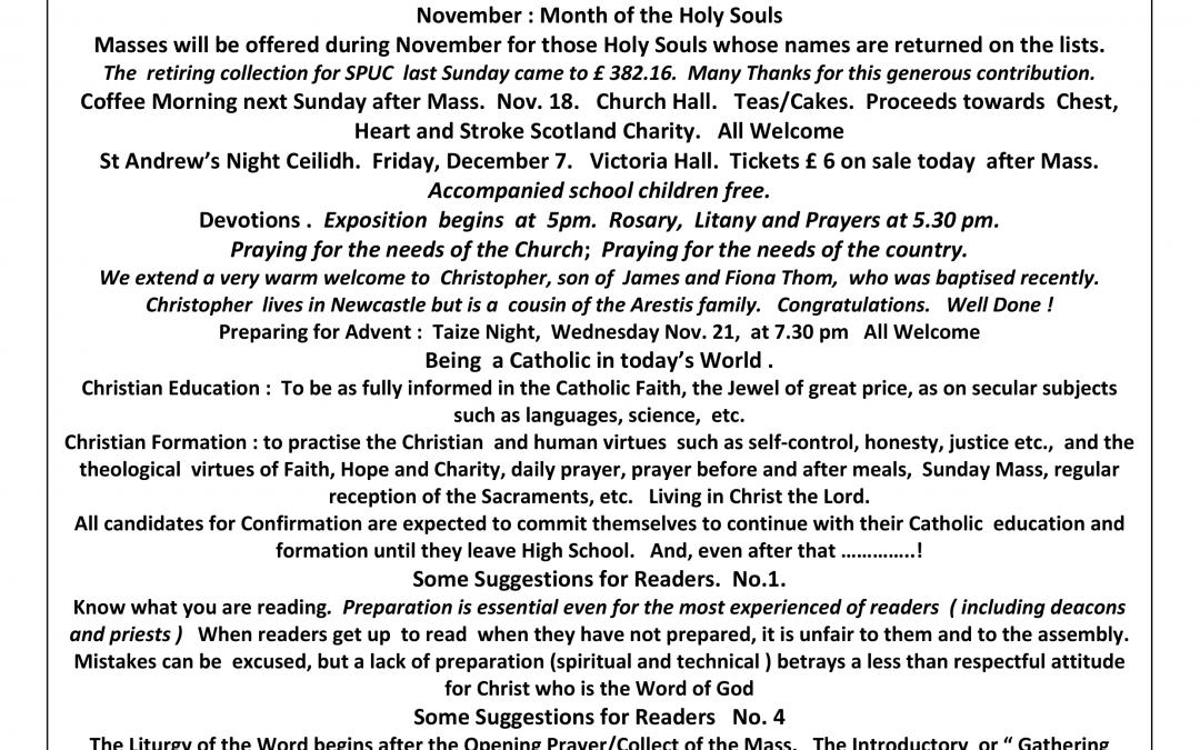 Parish Newsletter – 11/11/18