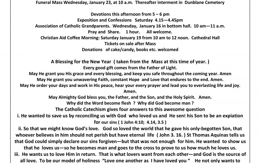 Parish Newsletter – 13/01/19