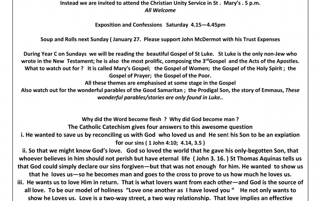 Parish Newsletter – 20/01/19