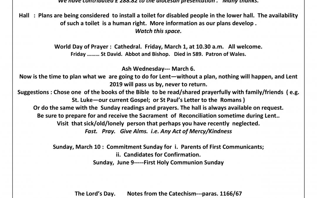 Parish Newsletter – 24/02/2019