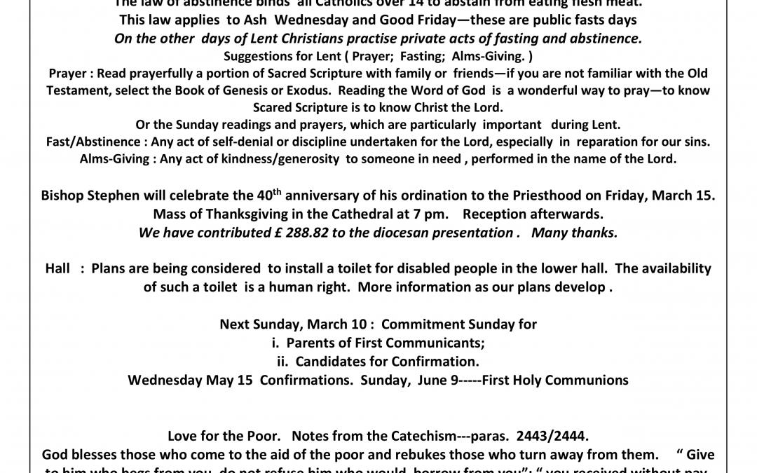 Parish Newsletter – 03/03/19