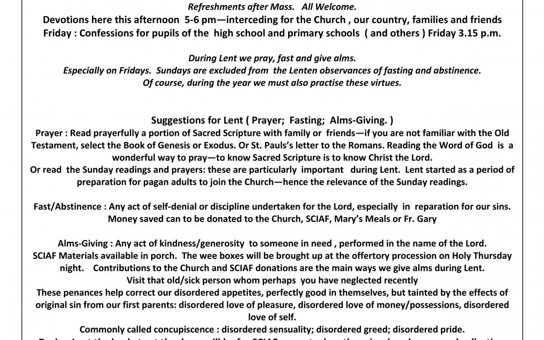 Parish Newsletter – 17/03/19